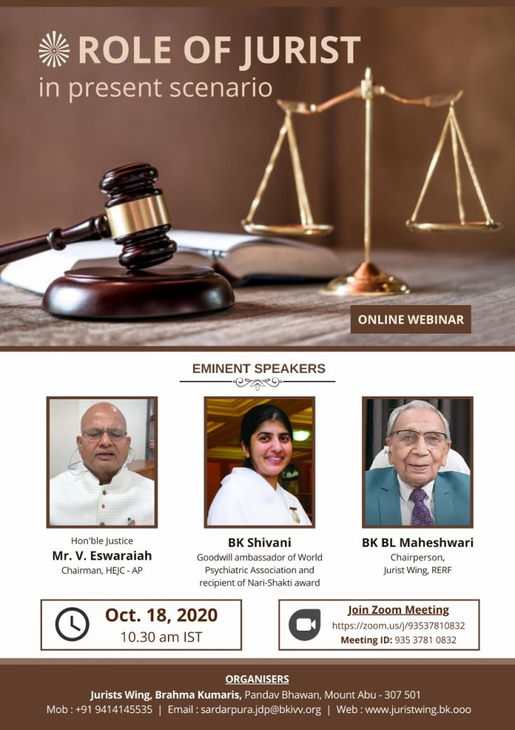 LIVE 18-10-2020, 10.30 am : Online Webinar by Jurist Wing